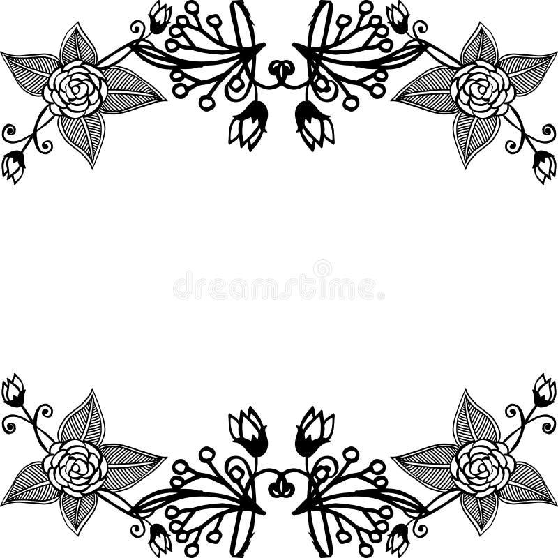 Wallpaper decoration flower frame, various shape of card, style elegant. Vector stock illustration
