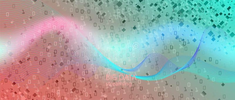 Wallpaper do Vetor de Fluxo de Dados Grande Layout de Música Neon Tech Grunge Slide Futurístico Punk Fluido Fractal Dados Azul Pú ilustração do vetor