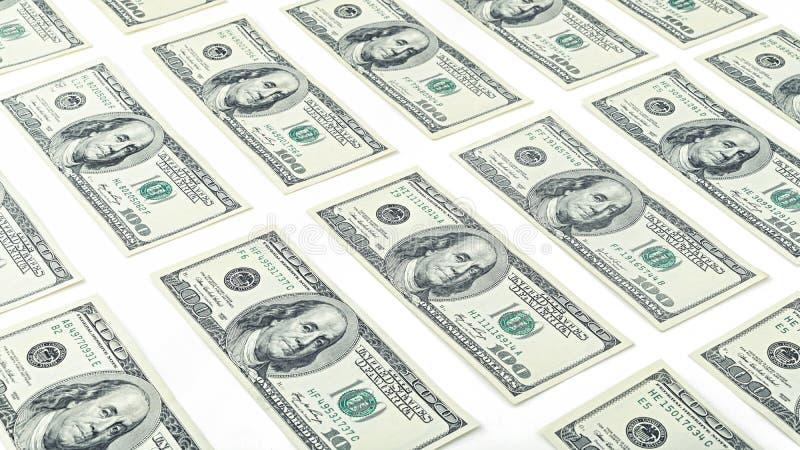 Wallpaper el billete de dólar americano del dinero ciento aislado en el fondo blanco Muchos billete de banco de los E.E.U.U. 100 imagen de archivo libre de regalías