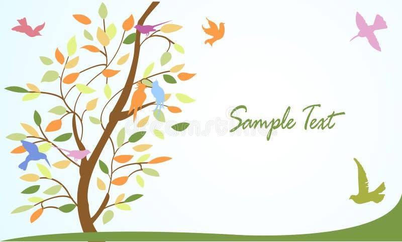wallpaper för tree för bakgrundsfåglar blom- vektor illustrationer
