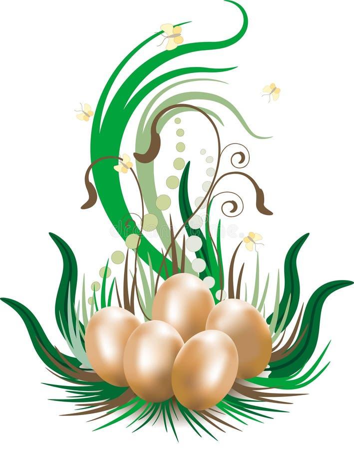 wallpaper för vykort för bakgrundseaster ägg stock illustrationer