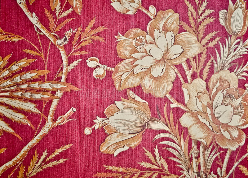 Wallpaper. Floral red vintage wallpaper background royalty free stock photography