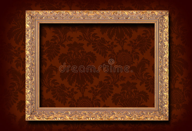 Wallpaper and frame. Victorian wallpaper and gold antique frame stock photography