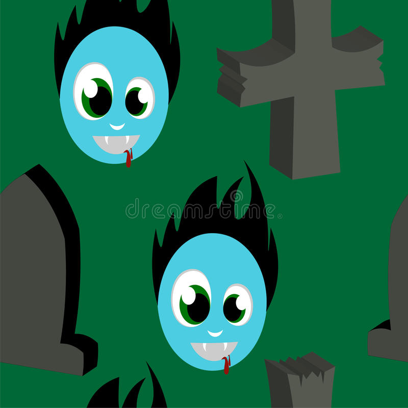 Wallpaper grave zombie. Beautiful art creative colorful halloween holiday wallpaper vector illustration of many grey crosses tombs and blue face zombie on green vector illustration