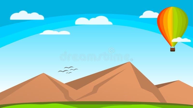 Wallpaper l'aerostato Colorfull di vettore della natura sopra il cielo illustrazione di stock