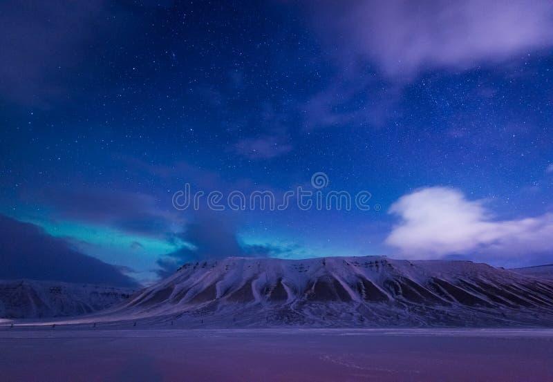 Wallpaper la nature de paysage de la Norvège des montagnes de la ville de neige de bâtiment du Spitzberg Longyearbyen le Svalbard image stock