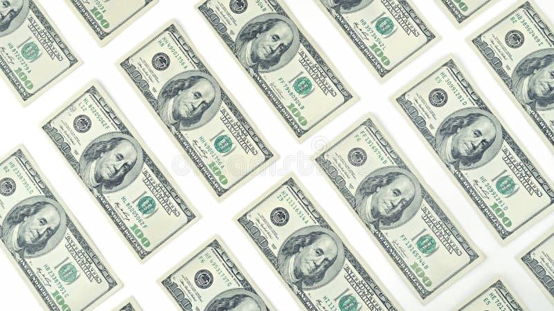 Wallpaper la opinión americana del billete de dólar del dinero ciento desde arriba aislada en el fondo blanco Muchos billete de b imágenes de archivo libres de regalías