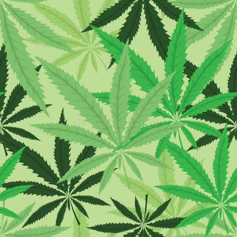 Wallpaper med gröna leavs av cannabis vektor illustrationer