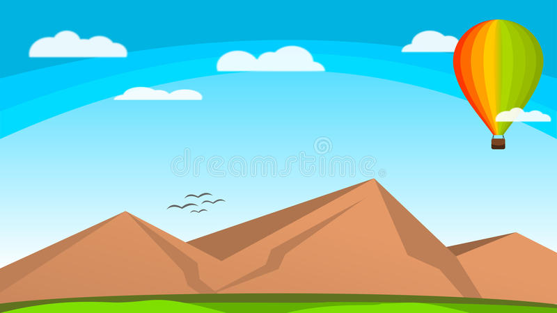 Wallpaper Nature Vector Air Balloon Colorfull above the sky stock illustration