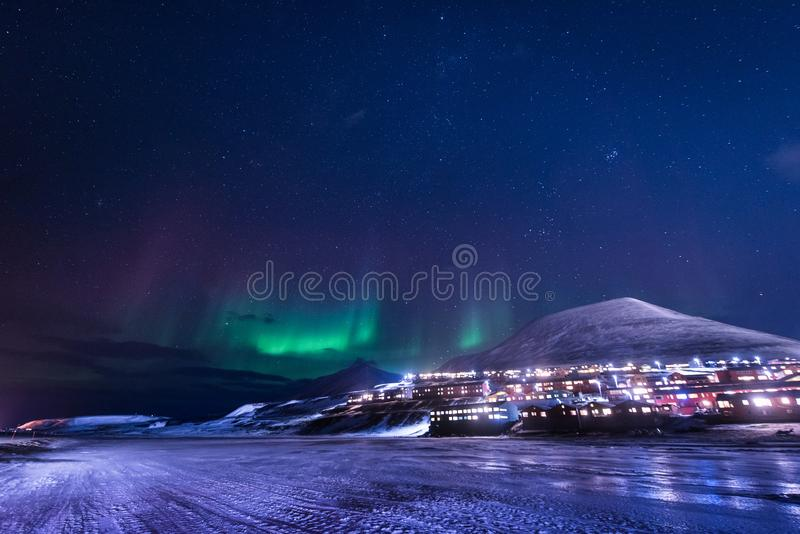 Wallpaper norway landscape nature of the mountains of Spitsbergen Longyearbyen Svalbard building snow city on a polar daynight wit. H arctic winter stock photos