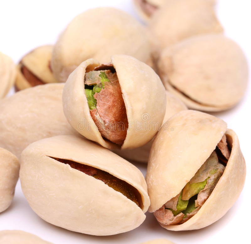 Wallpaper of one open pistachio. Close up. royalty free stock photography