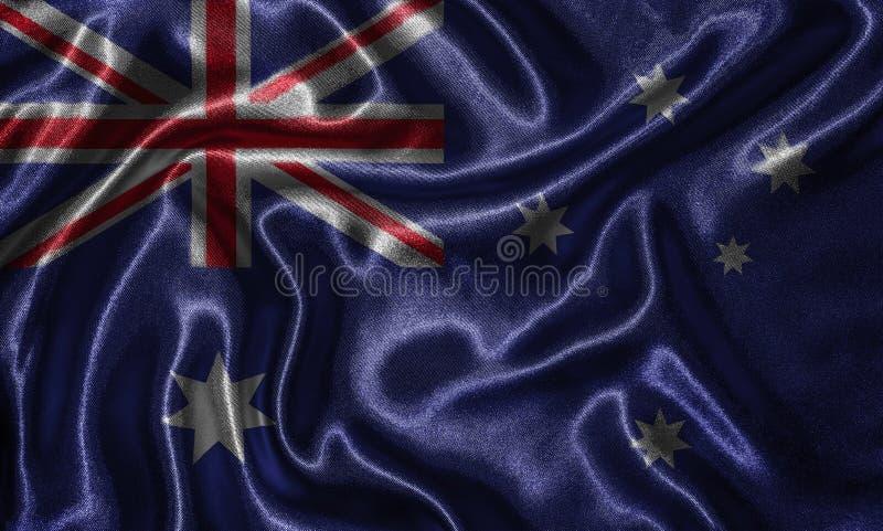 Wallpaper par le drapeau d'Australie et le drapeau de ondulation par le tissu images stock