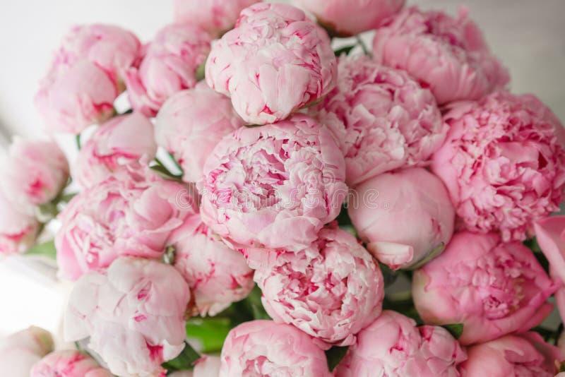 wallpaper Peônias cor-de-rosa das flores bonitas Composições florais, luz do dia imagens de stock royalty free