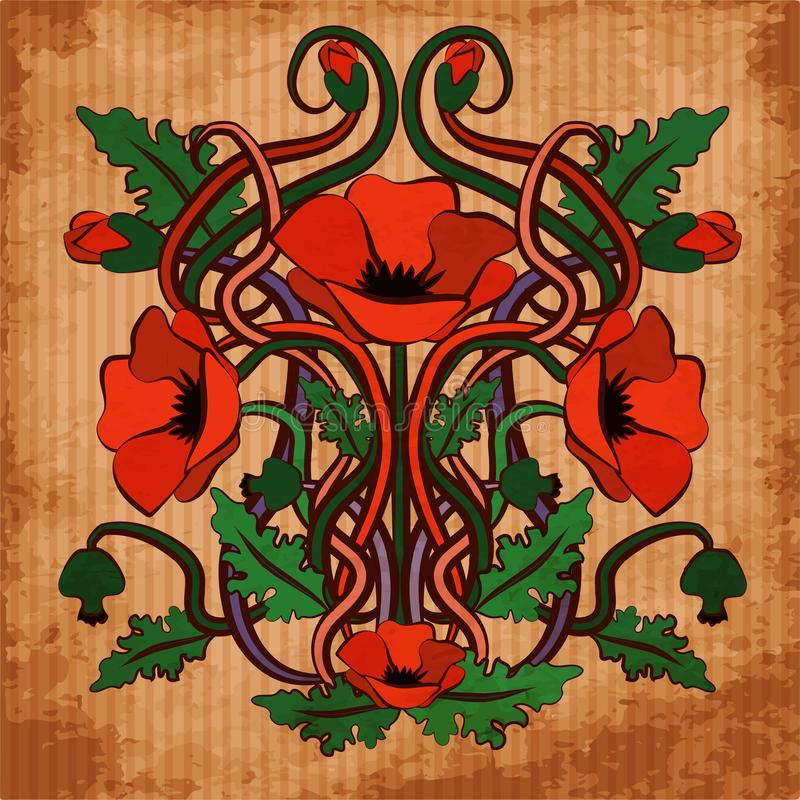 Art Nouveau Inspired California Poppy By Mason Larose: Wallpaper With Poppy Flowers In Art Nouveau Style Stock