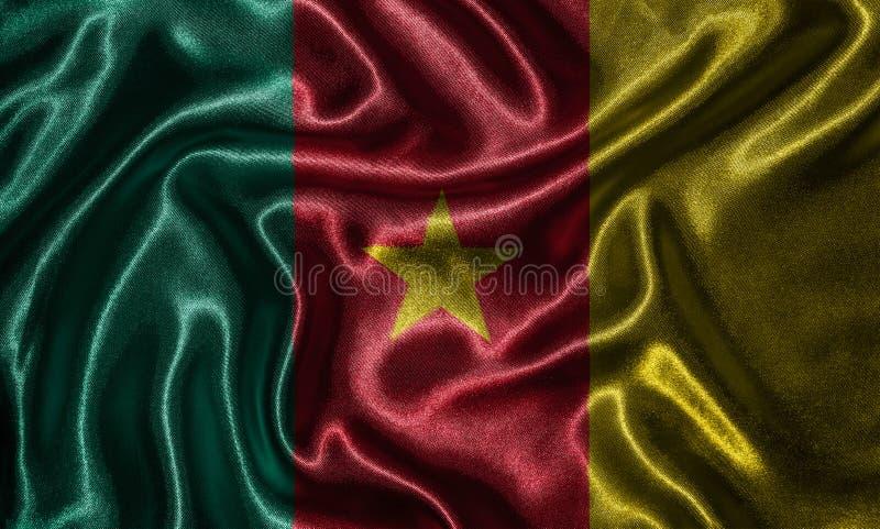 Wallpaper por la bandera del Camerún y la bandera que agita por la tela imagen de archivo libre de regalías