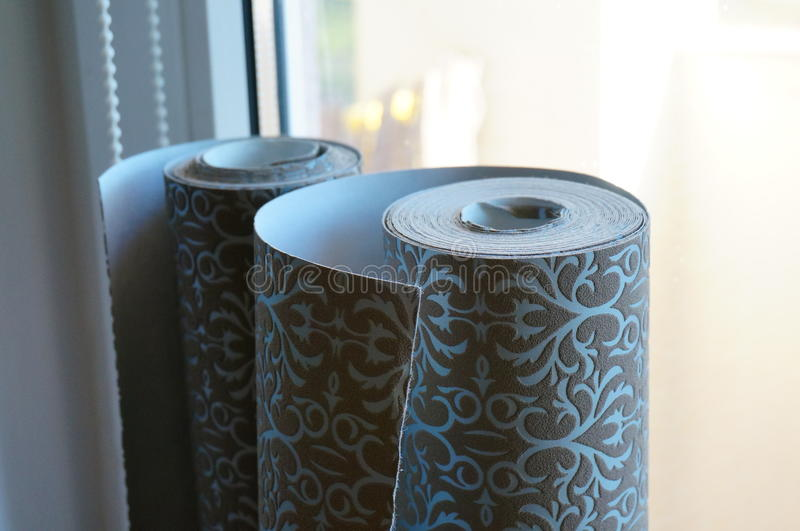Wallpaper rolls. Two wallpaper rolls royalty free stock photos