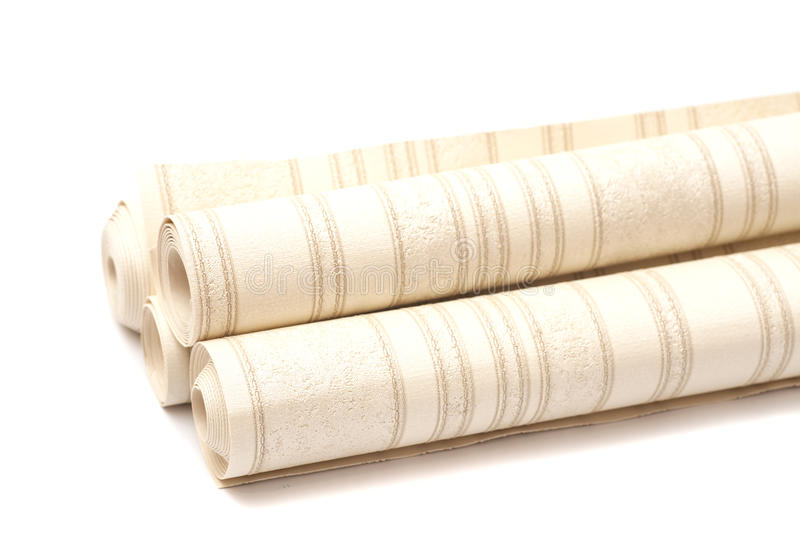 Wallpaper rolls. On white background royalty free stock images