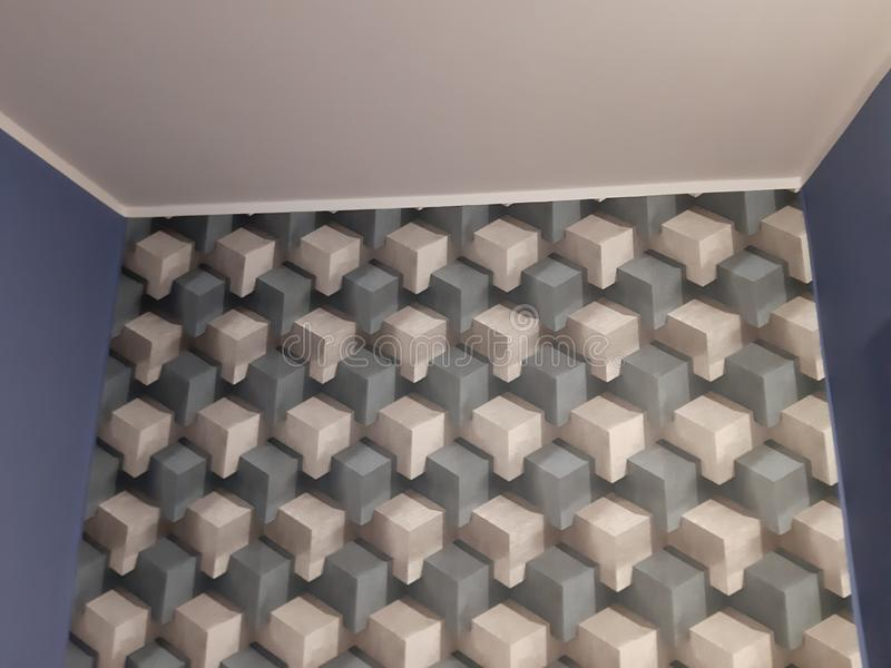 Wallpaper in room. Wallpaper room square structure cube royalty free stock photography