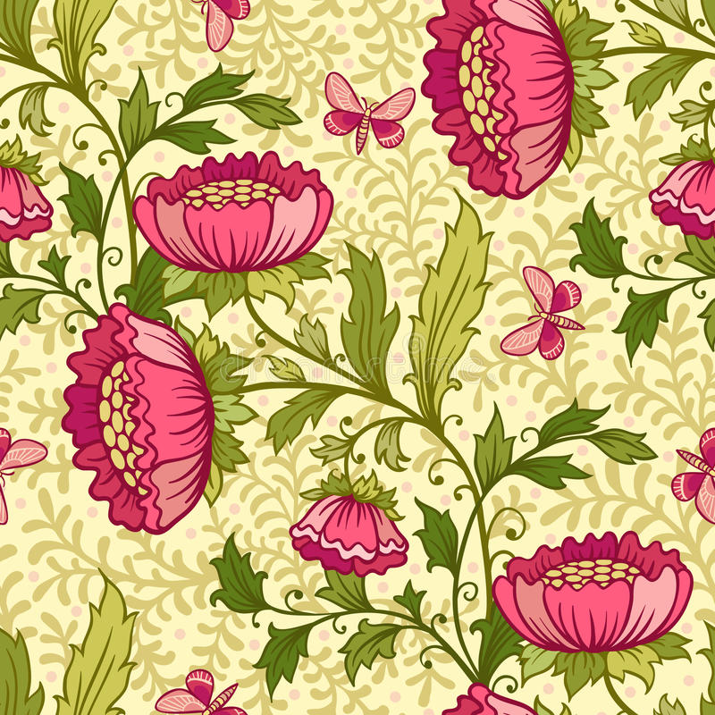 Wallpaper Seamless Vintage Flower Pattern Stock Vector - Illustration of ornament, garden: 31382510