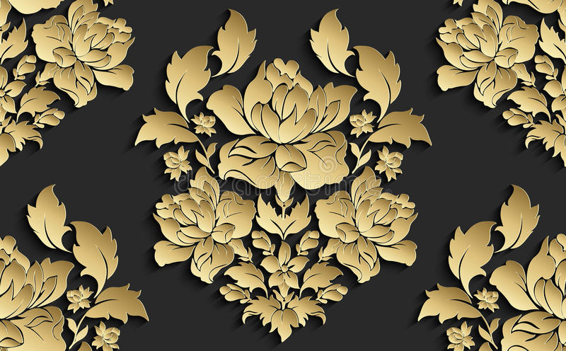 Wallpaper in the style of Baroque . Vector damask seamless floral pattern . Rose ornament . stock illustration