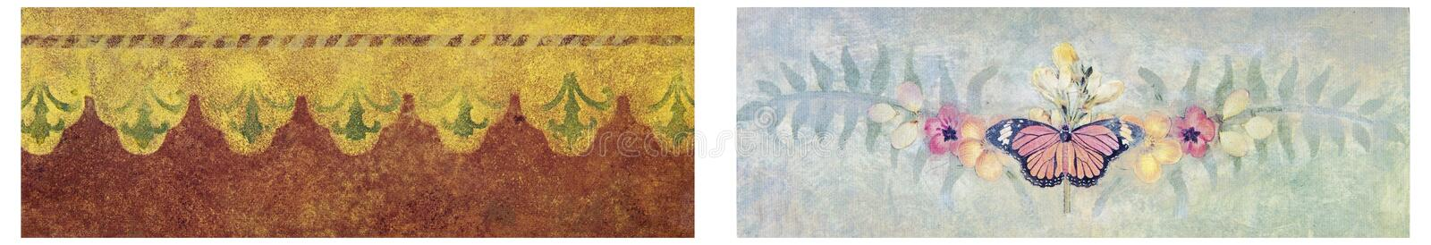 Wallpaper texture soft design collage. Artistic vintage retro pastel color designs of wallpaper backgrounds with butterfly flowers floral fern leafs for borders royalty free stock photo