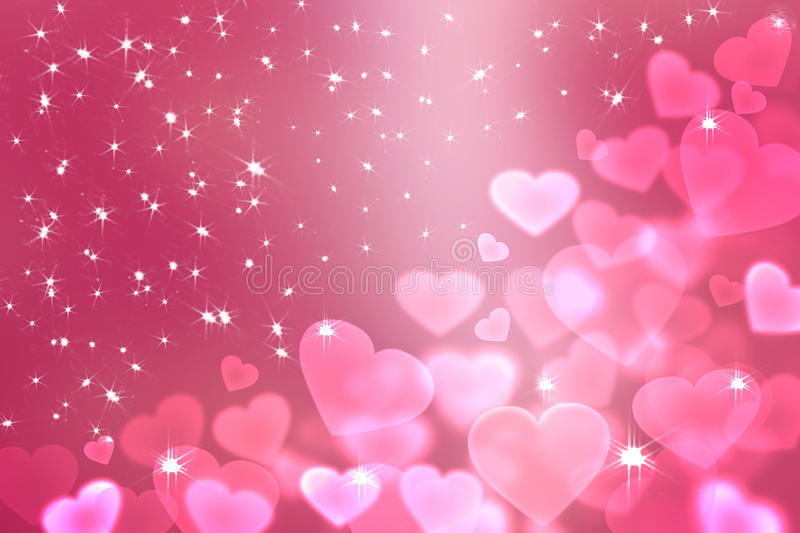 Bokeh Heart Shape Of Light Background Stock Footage Video: Wallpaper To Valentine's Day With Pink Hearts Stock