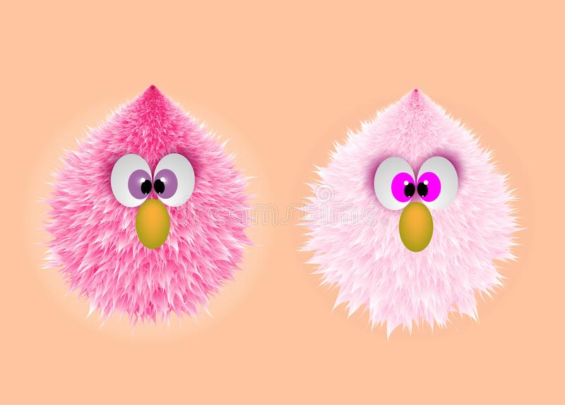 Funny Pink Baby Monster Hairy Face stock illustration