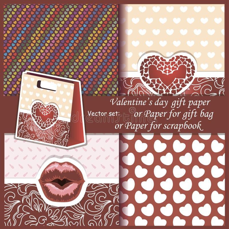 Wallpaper, Valentine's Day gift paper or for. Vector set of Wallpaper, Valentine's Day gift paper or for scrapbook stock illustration