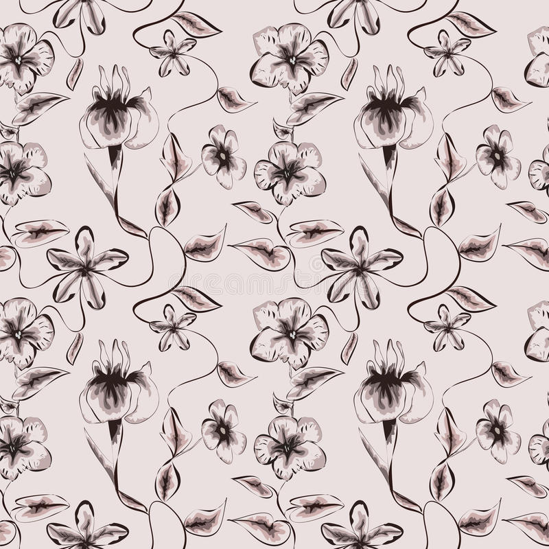 Wallpaper vintage pattern. On beige background royalty free illustration