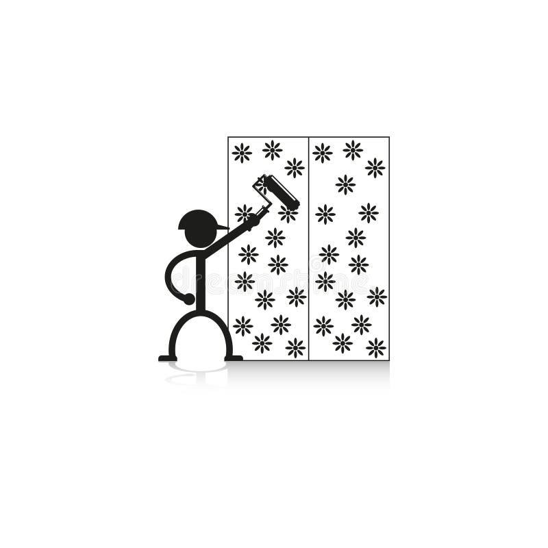 Wallpapering na parede Engrena o ícone ilustração royalty free