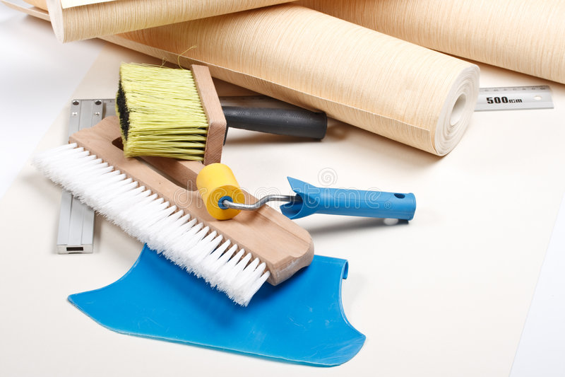 Wallpapering tools. Still-life from various wallpapering tools. Home renovation stock photography