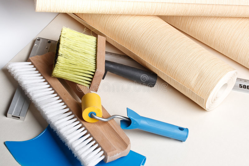 Wallpapering tools. Still-life from various wallpapering tools. Home renovation stock image
