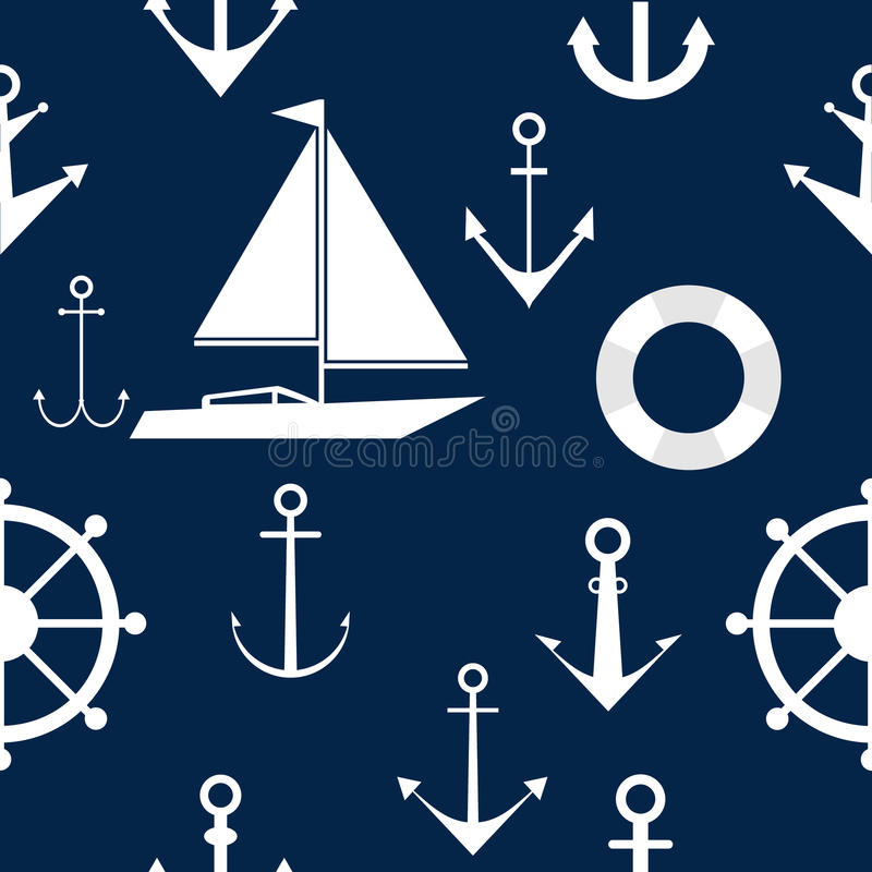 Wallpapers of anchors and steering wheels, marine themes. Wallpaper on the sea theme. Flat design, vector illustration, vector stock illustration