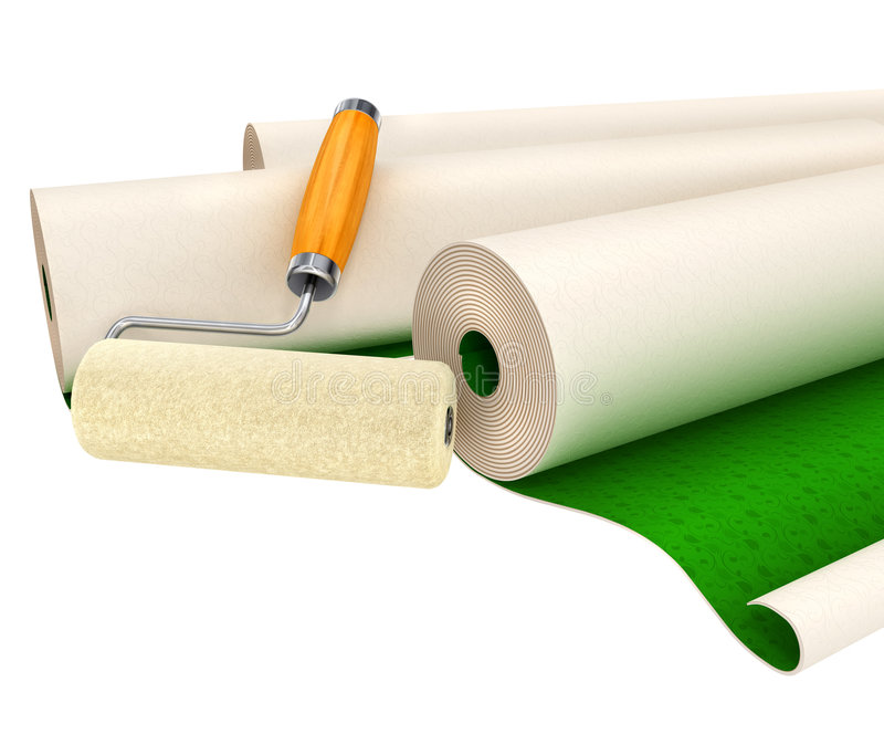 Download Wallpapers And Roller Tool For House Repairing Stock Photography - Image: 5074992