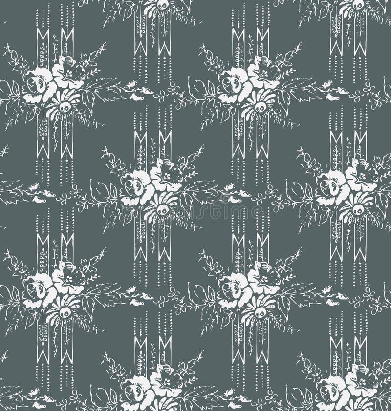 Wallpapper картины затрапезного вектора штофа конспекта безшовного викторианское иллюстрация штока
