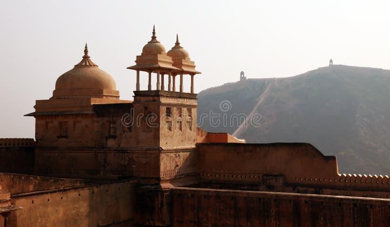 Walls at Amber Fort near Jaipur, India stock photos