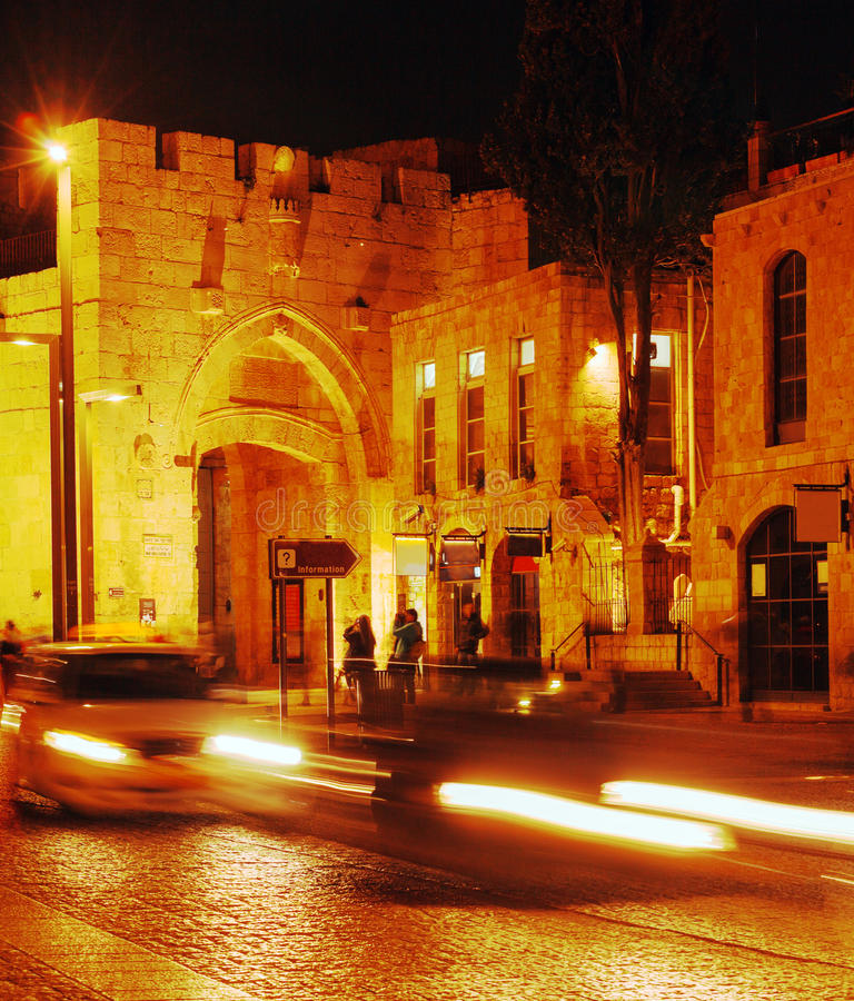 Walls of Ancient City and Jaffa Gate, Jerusalem, Israel stock photography