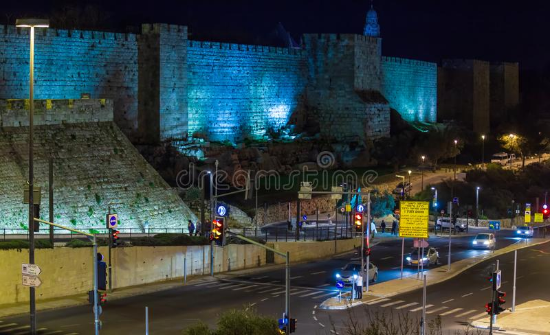 Walls of Ancient City, Jerusalem, Israel stock images