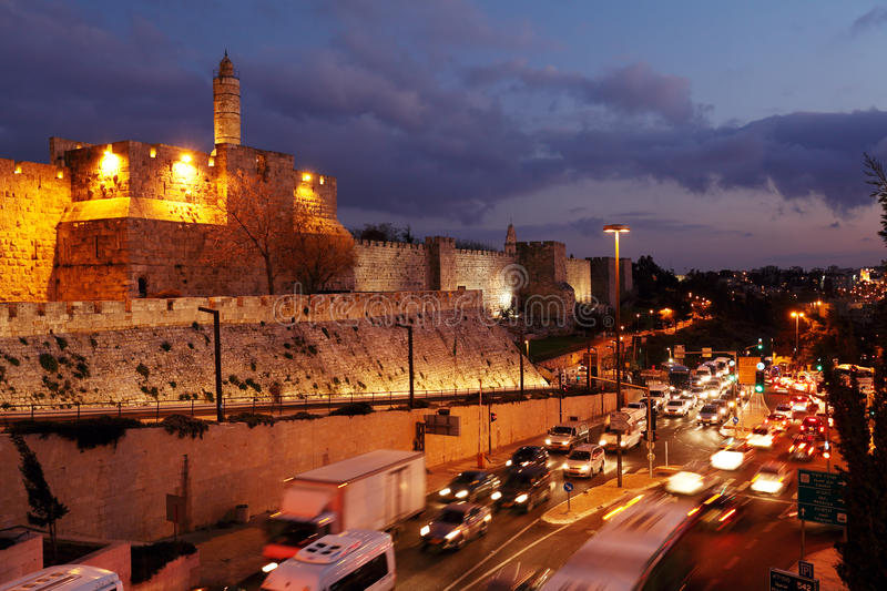 Walls of Ancient City at Night, Jerusalem royalty free stock photos