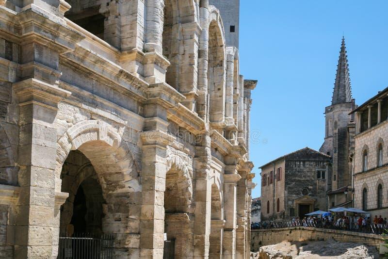 Walls of Arenes d'Arles (Roman Amphitheater). Travel to Provence, France - walls of Arenes d'Arles (Roman Amphitheater) in Arles city stock photo