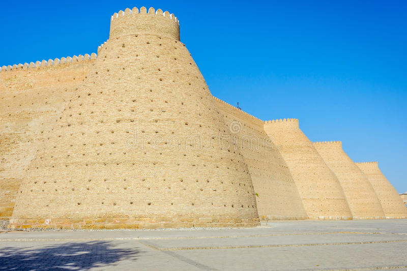 Walls of Ark of Bukhara. Walls of Ark Fortress of Bukhara, Uzbekistan royalty free stock photography
