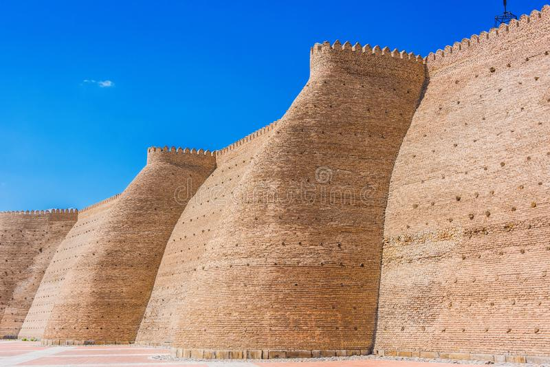 Walls of the Ark of Bukhara in Uzbekistan.  royalty free stock image