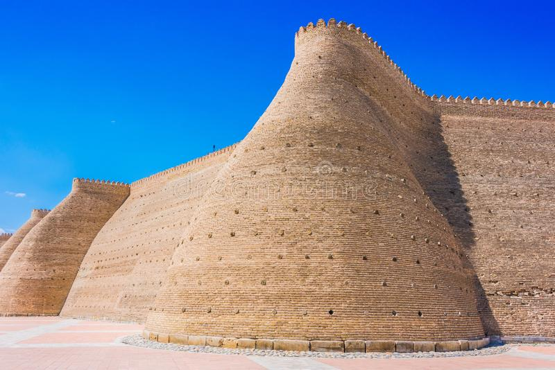 Walls of the Ark of Bukhara in Uzbekistan.  stock images