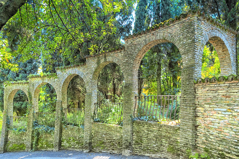 Walls around a garden in Sirmione. At the Lake Garda in Italy stock photography