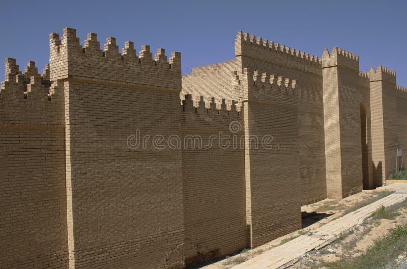 Walls of Babylon in Iraq. Restored ruins of ancient Babylon, Iraq stock photography