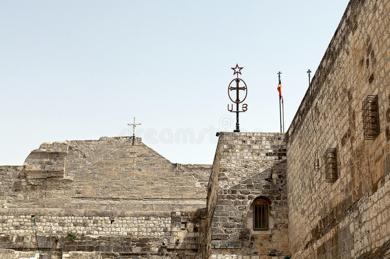 The walls of the Basilica of Nativity in Bethlehem stock image