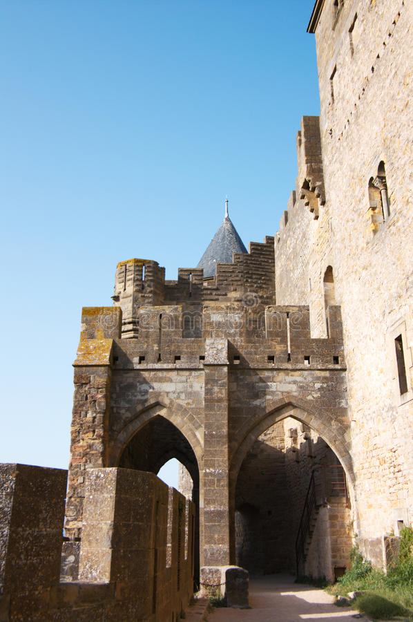 Walls of Carcassonne. Castle in France, Languedoc stock photos