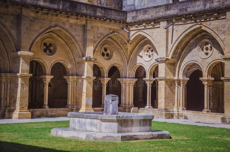 Walls from the cathedral in Coimbra walk in Portugal royalty free stock photos