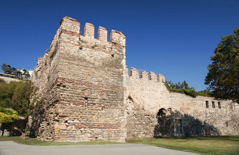 Walls of Constantinople or The Theodosian walls in Istanbul, Turkey royalty free stock image