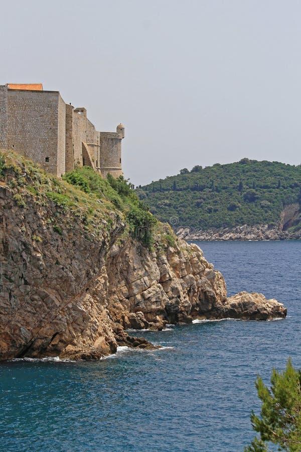 Walls of Dubrovnik. Dubrovnik Walls and Fortress at Adriatic Sea Coast Croatia royalty free stock images